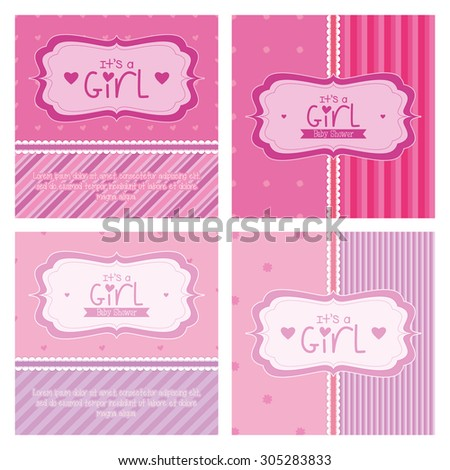 Set of labels on textured backgrounds for baby showers. Vector illustration - stock vector