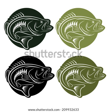 set of labels wit largemoutn bass - stock vector