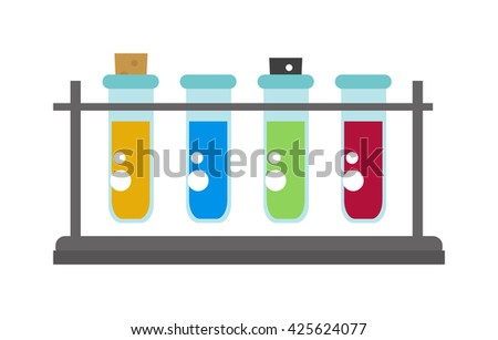 Set of laboratory equipment lab flask and lab flask vector illustration. Lab flask chemistry experiment and analysis equipment lab flask. Biology glassware drug pharmaceutical lab flask. - stock vector