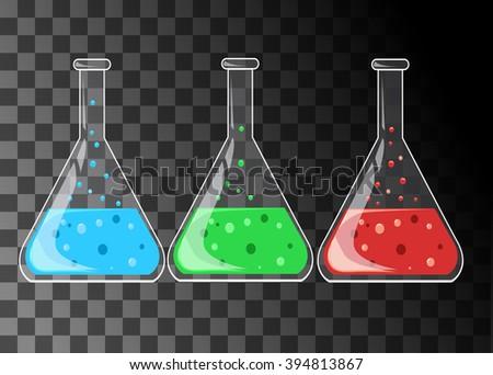 Set of laboratory flasks. - stock vector