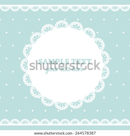 Set of lace frame doily and ribbons border in white color isolated no light blue polka dot background. Vector illustration.  - stock vector