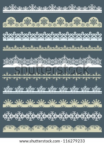 Set of Lace Paper  for christmas with snowflakes, vector - stock vector