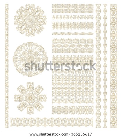 Set of laced decorative vignettes and borders - stock vector