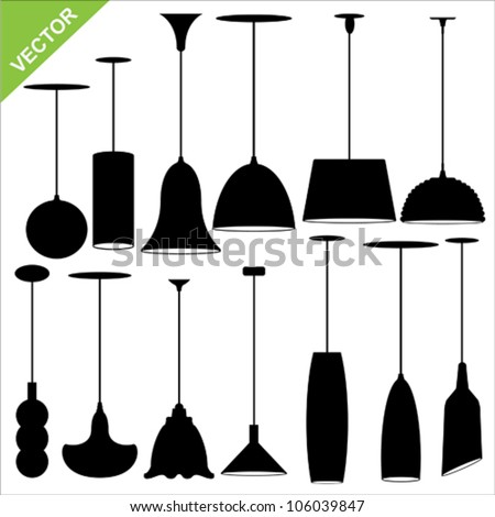 Set of lamp silhouettes vector - stock vector