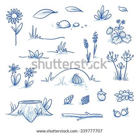 Set of landscape and nature background parts: stump, strawberries, nuts & cones, stones, hills, grass, leaves and flowers. Hand drawn vector illustration. - stock vector