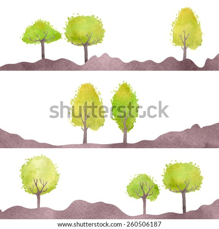 Set of landscapes with green trees. Vector watercolor. Isolated design objects.  - stock vector