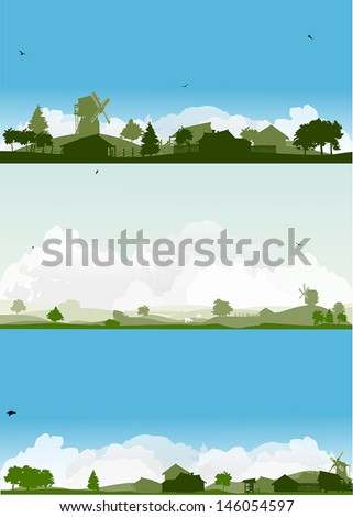 set of landscapes with trees and village - stock vector