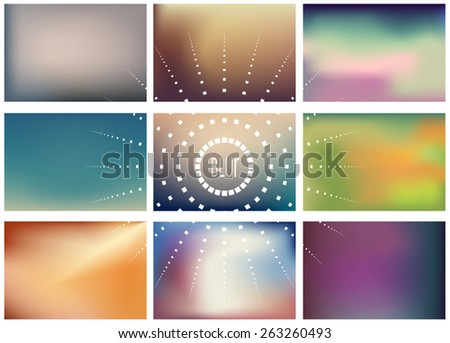 Set of 9 lanscape blurred backgrounds. Vector eps10. - stock vector