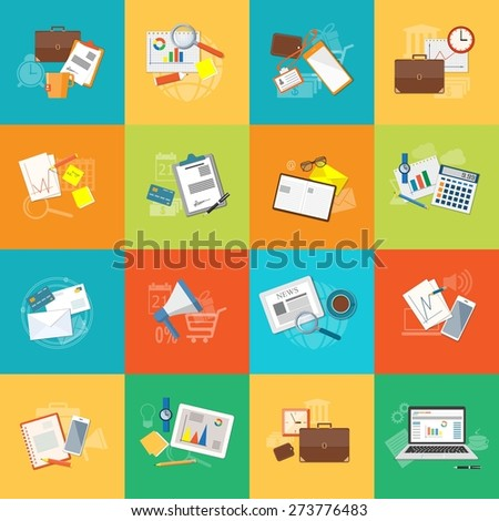 Set of lat design modern vector illustration concept of education, business, marketing, e-mail marketing, management  - eps10 - stock vector