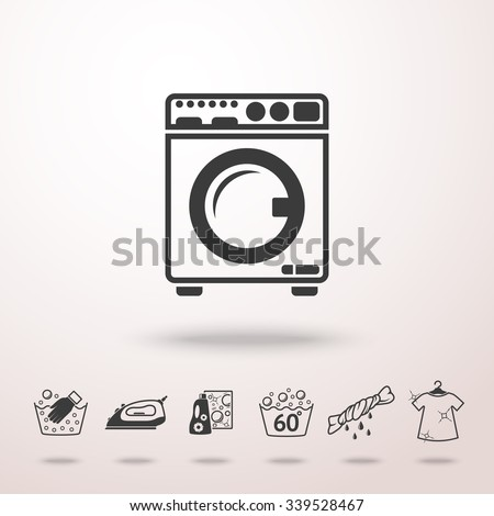 Set of Laundry icons with - clean and dirty shirts, hand washing, washing machine, iron, bleach, bubbles. Vector - stock vector