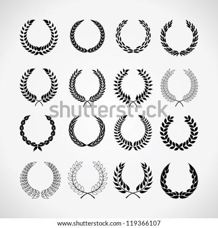 set of laurel wreaths - stock vector