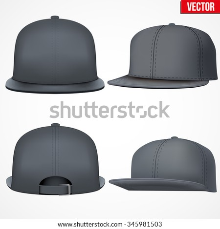 Set of Layout of Male black rap cap. A template simple example. Editable Vector Illustration isolated on white background. - stock vector