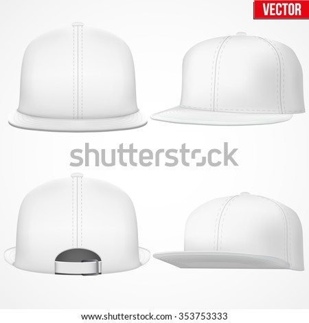Set of Layout of Male white rap cap. A template simple example. Editable Vector Illustration isolated on white background. - stock vector