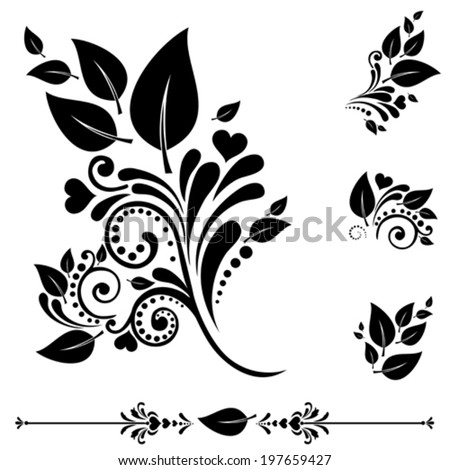 Set of  leaf icons. Collection of design elements isolated on White background. Vector illustration  - stock vector