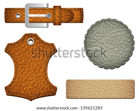 Set of leather labels in three colors. Vector illustration - stock vector