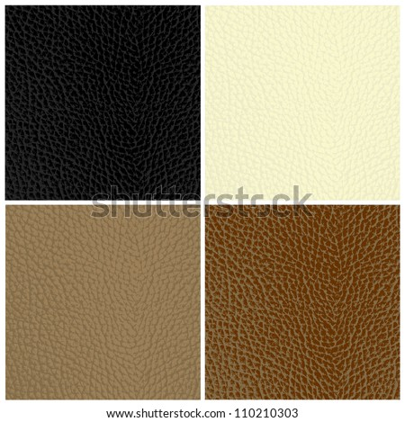 Set of leather textures - stock vector