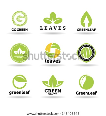 Set of leaves. Set of organic food badges (9). - stock vector