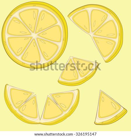 Set of lemon slices - stock vector