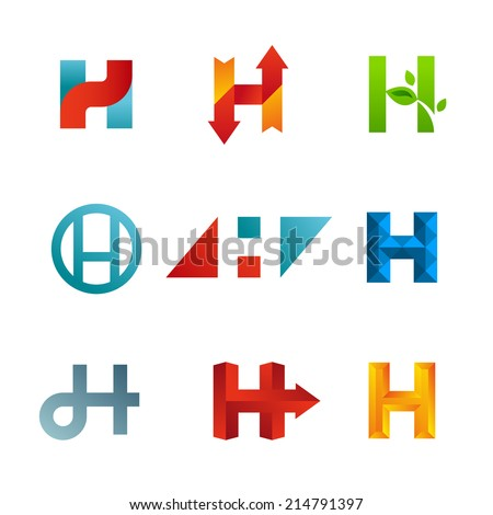 Set of letter H logo icons design template elements. Collection of vector signs. - stock vector