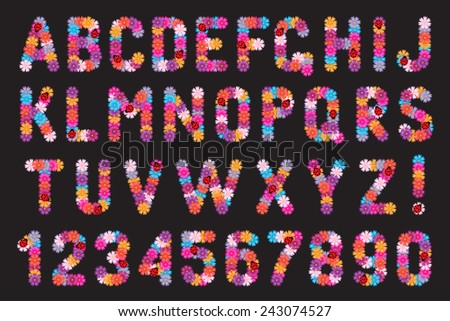 Set of letters and numbers of flowers with ladybirds. - stock vector