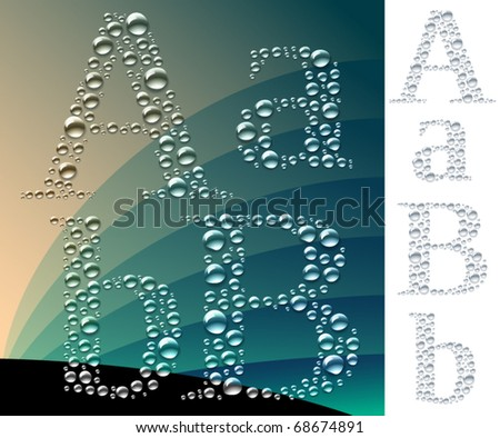 Set of letters in the form of drops. Sensitive to the background. 2 variants of light and dark - stock vector