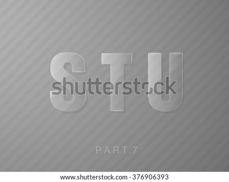 set of letters made of glass, transparent classic font - stock vector