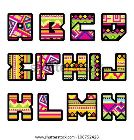 set of letters with the design of a Mexican style (part 1) - stock vector