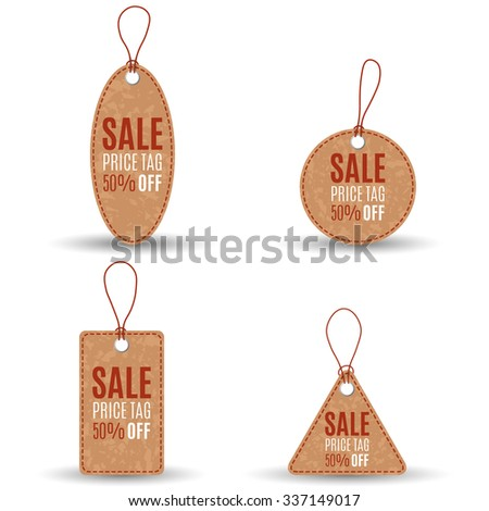 Set of light brown sale tags in grunge style with red stitch and string on white background. Circle, triangular, square forms. Idea for promoion, web design. Vector illustration - stock vector