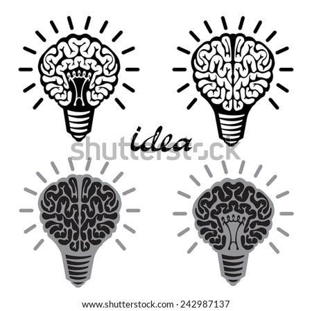 Set of light bulb idea human brain on white background  - stock vector