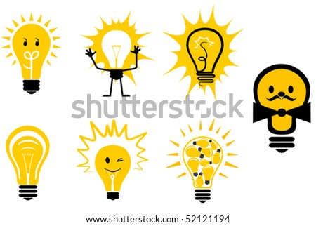 Set of light bulb symbols for design or logo template. Jpeg version also available - stock vector