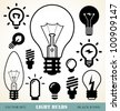 set of light bulbs icons - stock vector
