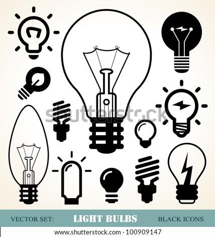 set of light bulbs icons - stock vector