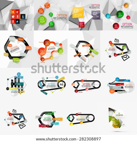 Set of light, paper design option infographic banner templates. Various universal geometric shapes with sample text, steps, connections - stock vector