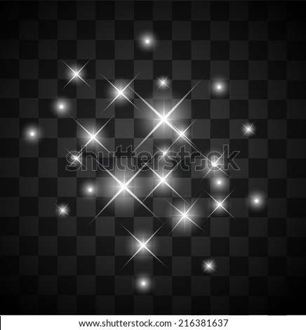 Set of light sparkles on a transparent background vector - stock vector