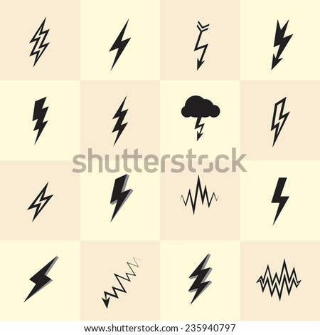 Set of lightning icons and flash symbols - stock vector
