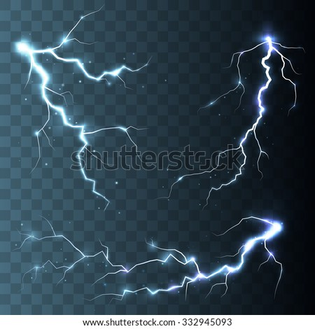 Set of  lightnings. Thunder-storm and lightnings. Magic and bright lighting effects. Vector Illustration - stock vector