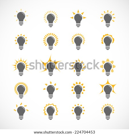 Set of 25 ligt bulb icons, symbol of ideas - stock vector