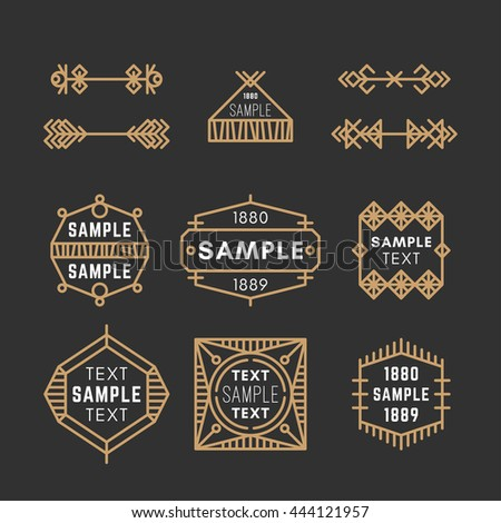 Set of Line Art Decorative Geometric Vector Frames and Borders with Golden and Black Colors. Vector Ornaments, Vector Decoration, Line Ornament, Vector Logos, Vector Labels. 19th century petroglyph - stock vector
