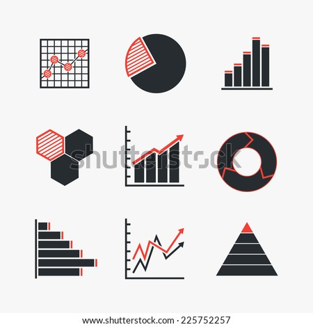 Set of line chart and diagram duo tone (black-red) icons. Isolated on white background. Vector illustration, eps 8. - stock vector