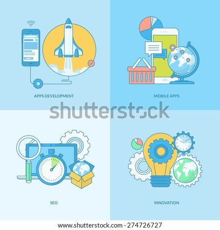 Set of line concept icons with flat design elements. Icons for websites and apps design and development, SEO, mobile sites and apps development, innovation. - stock vector