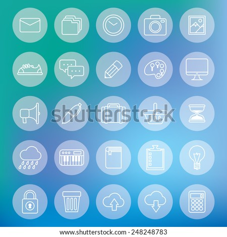 set of line icon with blur background - stock vector