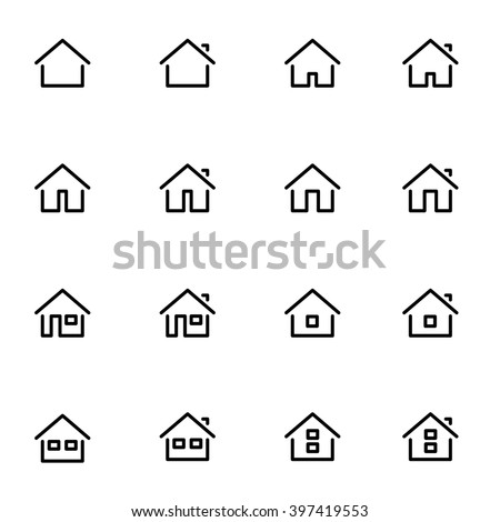 Set 1 of line icons representing house Vector Illustration. House and home black and white icons. House and home signs. House and home symbols. House and home flat pictograms. - stock vector