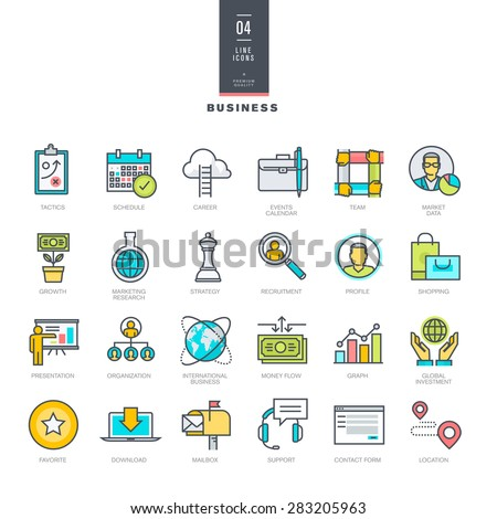 Set of line modern color icons for business   - stock vector