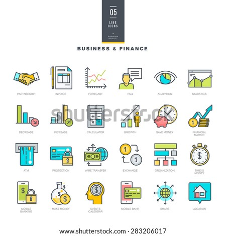 Set of line modern color icons for business and finance     - stock vector