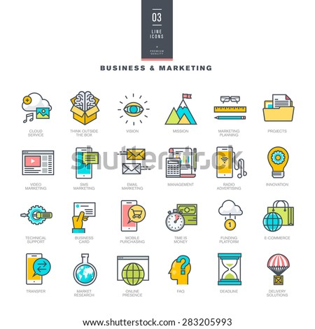 Set of line modern color icons for business and marketing     - stock vector