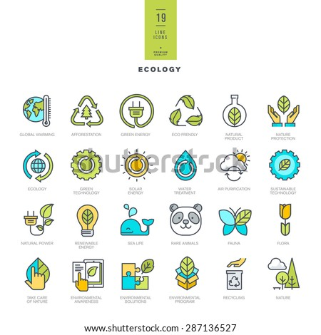 Set of line modern color icons for ecology     - stock vector