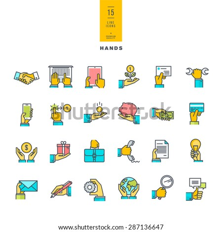 Set of line modern color icons of hand using a variety of products     - stock vector