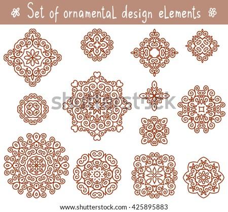 Set of line ornamental design elements. Geometric circular ornaments. Cute lace patterns. Mandalas vector ornaments. Line art decorative elements - stock vector