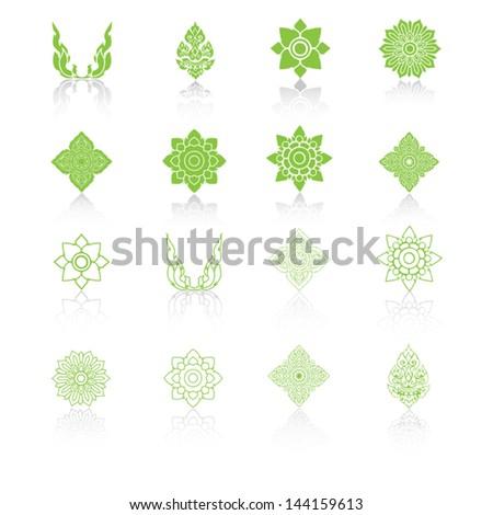 Set of Line Thai Art, Icons Vector Illustration. - stock vector