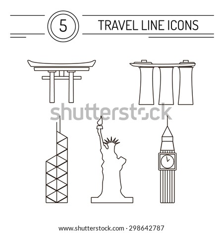 Set of line travel icons. Modern vector symbols of famous sightseeings including Big Ben, Statue of Liberty, Marina Bay Sands, Japan Arch and Bank of China Tower located in Hong Kong. - stock vector
